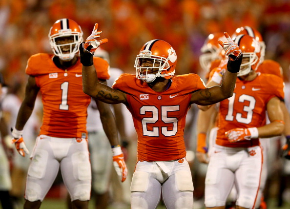 CLEMSON, SC - AUGUST 31:  Roderick McDowell #25 of the Clemson Tigers celebrates after defeating the Georgia Bulldogs 38-35 at Memorial Stadium on August 31, 2013 in Clemson, South Carolina.  (Photo by Streeter Lecka/Getty Image