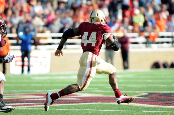 CHESTNUT HILL, MA - NOVEMBER 2: Andre Williams #44 of the Boston College Eagles breaks a touchdown run against the Virginia Tech Hokies in the second half at Alumni Stadium. The Eagles won the game 34 to 27. November 2, 2013 in Chestnut Hill, Massachusetts. (Photo by Darren McCollester/Getty Images)