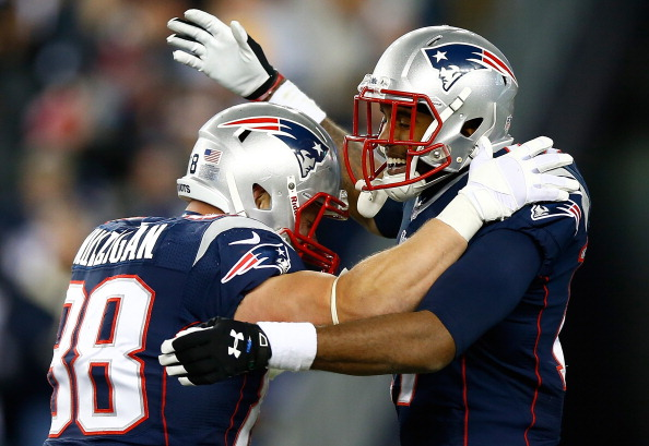 FOXBORO, MA - NOVEMBER 03: Aaron Dobson #17 of the New England Patriots is congratulated by teammate Matthew Mulligan #88 after catching a pass for a touchdown in the fourth quarter against the Pittsburgh Steelers at Gillette Stadium on November 3, 2013 in Foxboro, Massachusetts. (Photo by Jared Wickerham/Getty Images)
