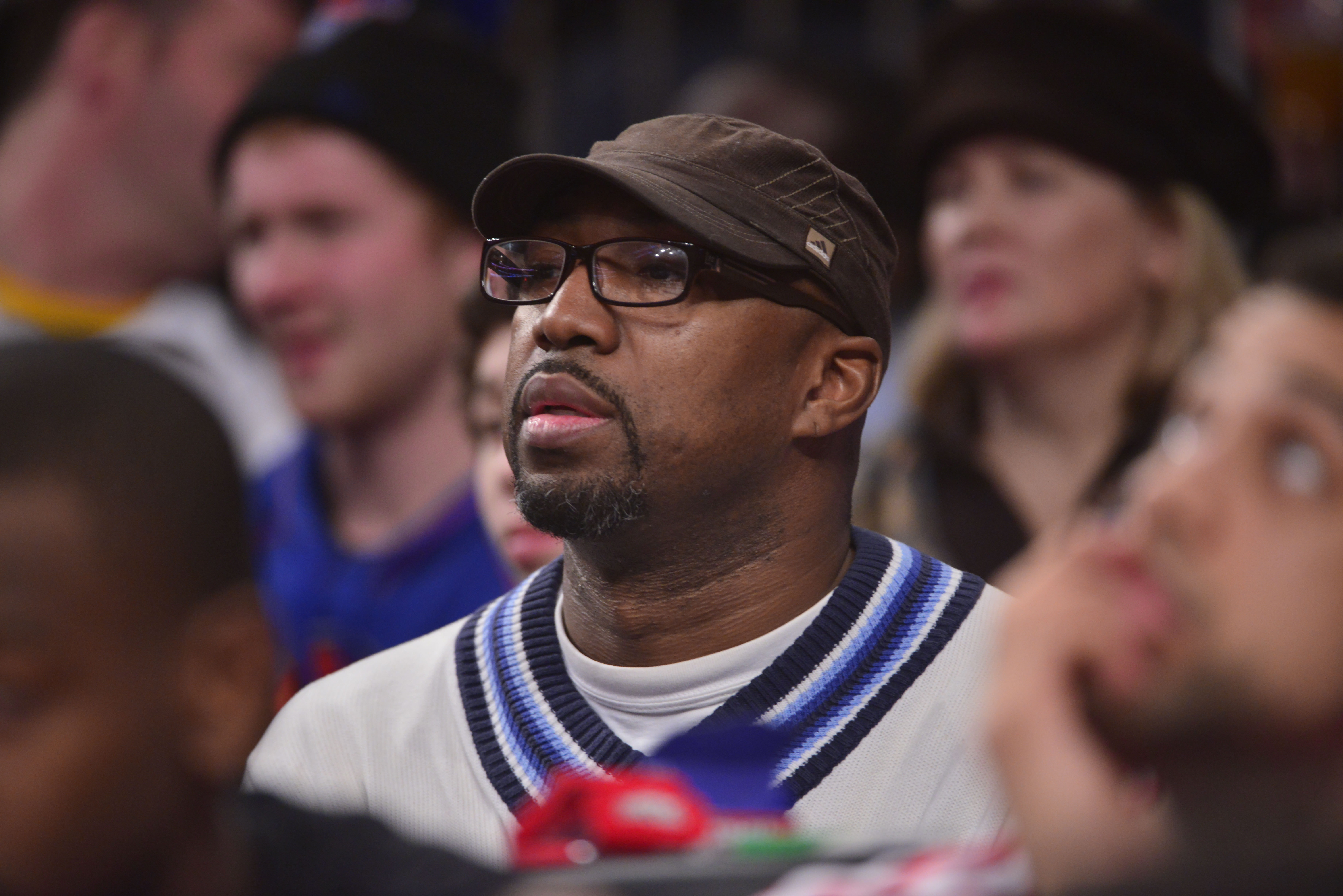 Former NBA player, Vin Baker attends the Toronto Raptors game against the New York Knicks on December 27, 2013 at Madison Square Garden in New York City, New York.  Baker played at the University of Hartford, and has lived in Connecticut.  (Photo by Jesse D. Garrabrant/NBAE via Getty Images)