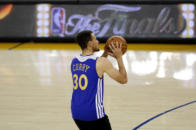 Stephen Curry #30 of the Golden State Warriors shoots during practice before the 2016 NBA Finals at ORACLE Arena on June 1, 2016 in Oakland, California. The Warriors will take on the Cleveland Cavaliers in Game 1 on June 2, 2016.